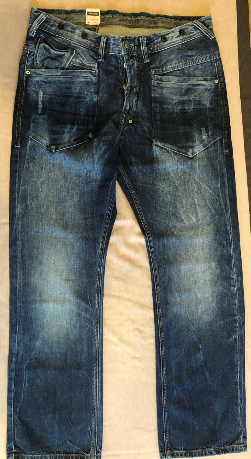 J.C.RAGS - Men's bluee - Whiskered - Relaxed Straight Jeans - W33  - BNWT