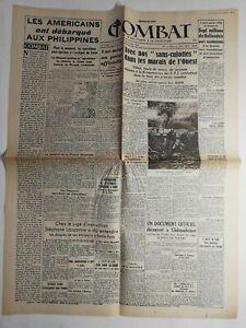 N192-La-Une-Du-Journal-Combat-20-octobre-1944-Americains-debarquent-Philippines