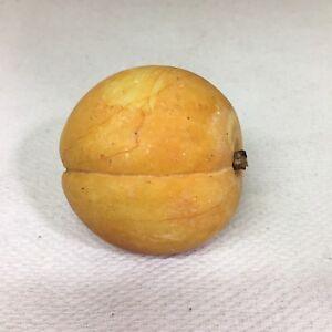 Vintage Alabaster Stone Fruit Peach Wood Stem Antiques