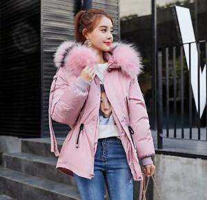 34368b1c1 Women's Big Fur Collar Hooded Winter Warm Jackets Short Cotton ...