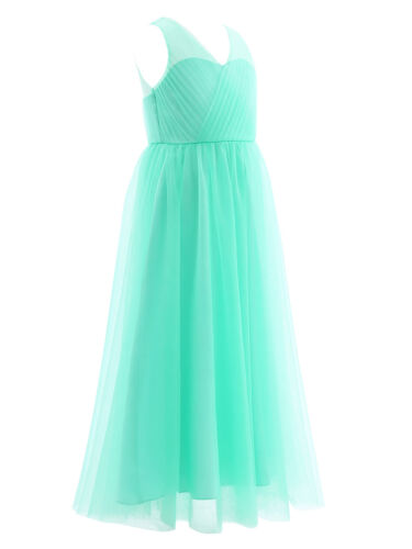 Girl Chiffon Sleeveless Flower Girl Dress Kid Princess Pageant Party Formal Gown