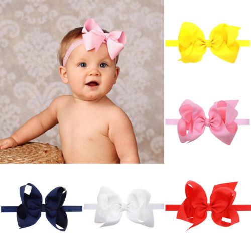 1pcs Girls Baby Boutique Hair Band Big Bows Grosgrain Ribbon Elastic Headband