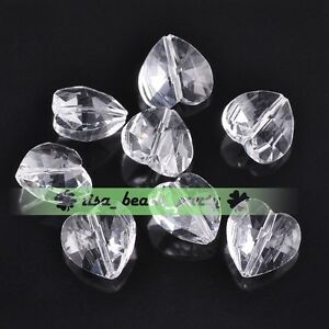 10pcs-14x9mm-Faceted-Heart-Crystal-Glass-Charms-Loose-Spacer-Beads-Clear