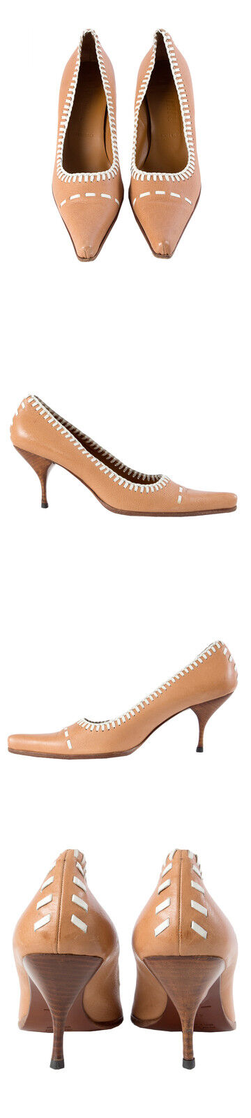 40243 auth MIU MIU fallow marron & blanc blanc blanc leather Pumps chaussures 41 927e5a
