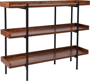 Details About 3 Shelf 35 H Storage Display Unit Bookcase In Rustic Wood Grain Finish