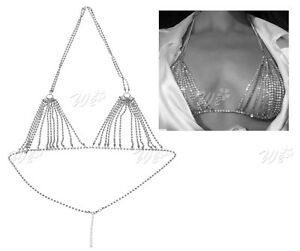Image is loading Charm-Women-Shiny-Harness-Crystal-Rhinestone-Bra-Chest- 17a116fd7ed0