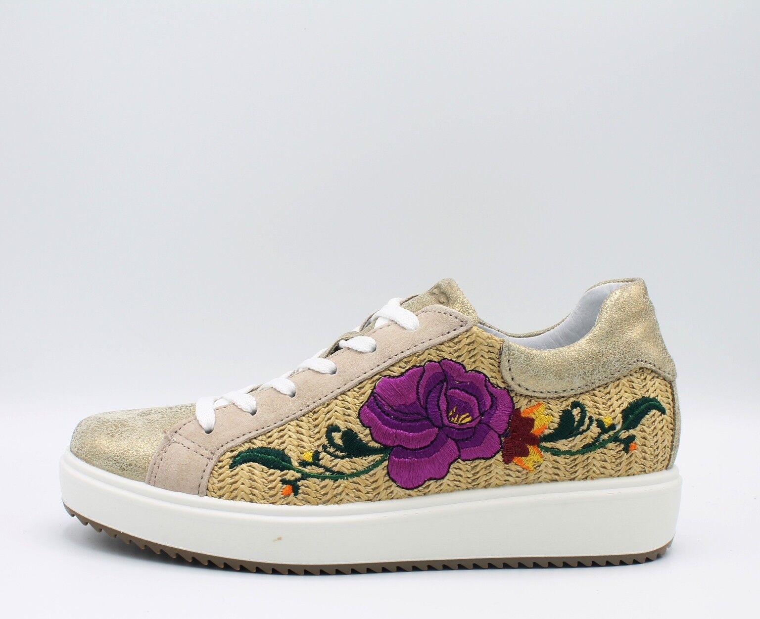 IGI & CO. DHN 1148400 scarpe donna scarpe da ginnastica in pelle platino con fiore ricamato