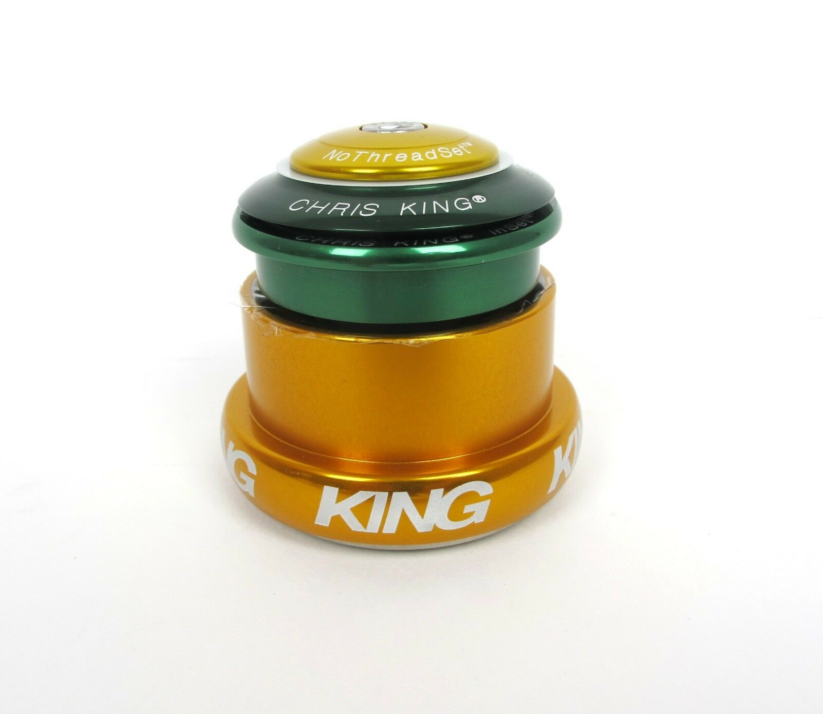 New Chris King Headset Inset I3 ZS44   EC49  Green & gold - 10 Year Warranty