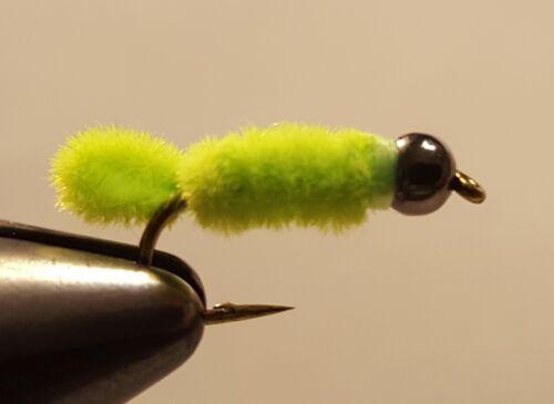 Fly Fishing Flies 12 Gun Metal Beaded Green Weenie Inch Worm size 12 Trout Nymph