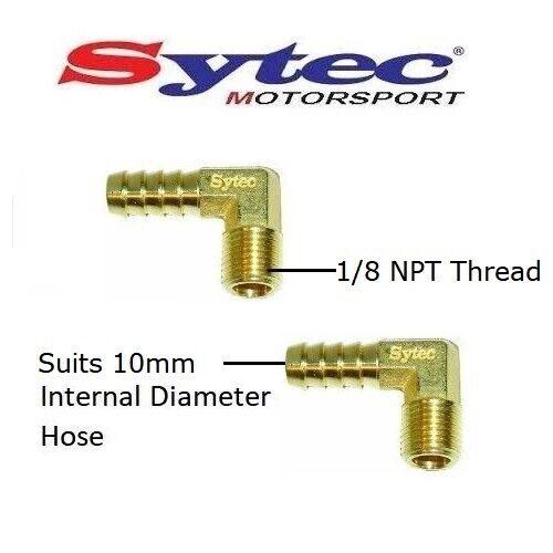 2 x Sytec 90 GRADI UNIONI in ottone 1//8 NPT//10mm Hose Tail-per pompe di sfaccettatura