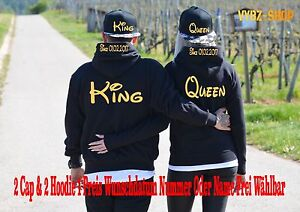 Cap /& Hoodie Pullover 4er Set King Queen Motiv Partner Look Blogger XS bis 5XL