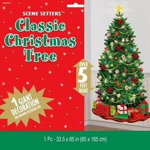 Christmas Scene Setters Australia.Details About Classic Christmas Tree Scene Setter Party Wall Decoration Light Baubles Gifts