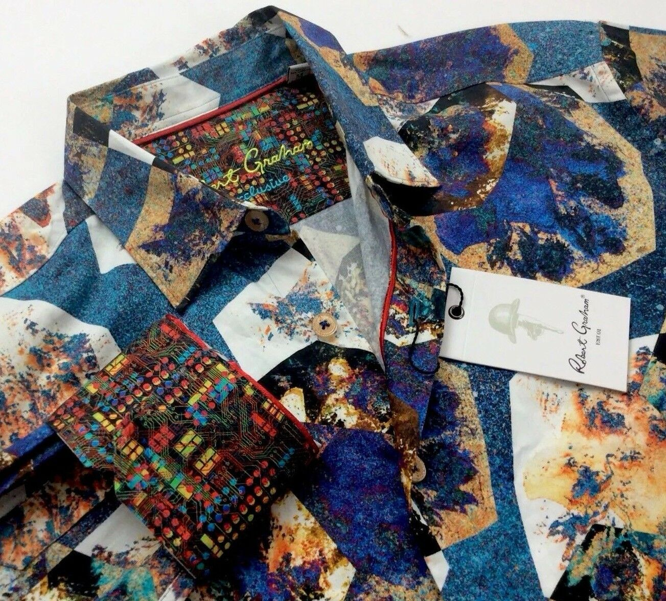 Robert Graham Men Vintage Rustic bluee Geometric Patterned Jacquard Sport Shirts