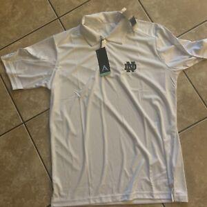 NWT-Antigua-Golf-L-Notre-Dame-Golf-Shirt-White-Football-SS