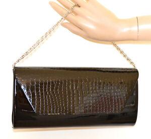BOLSA-NEGRA-CLUTCH-bag-mujer-pochette-elegante-cadena-plata-black-handbag-G54
