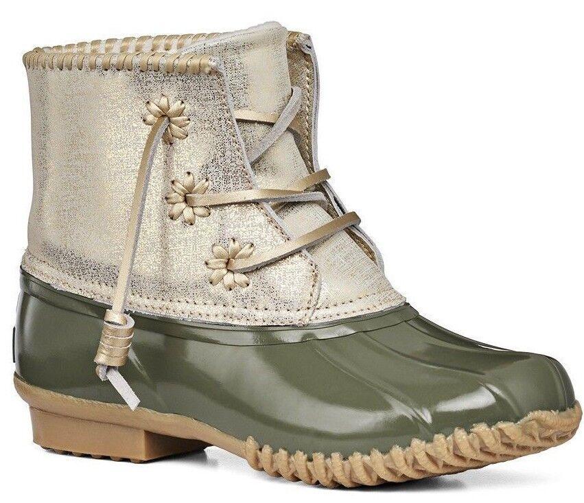 NEW Jack Rogers CHLOE Rain Stivali Olive Green Shimmer Gold Pelle Ankle Shoes 11