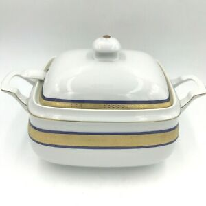 Vintage Scherzer Bavaria Soup Tureen Blue Gold Encrusted Band Cook O Matic DH4