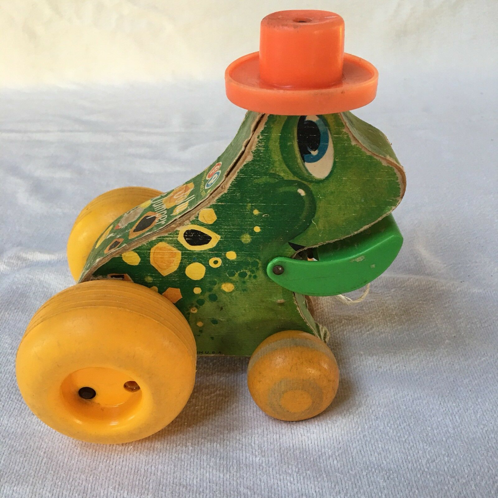 793 Fisher Price Toys c'63 Jolly Jolly Jolly Jumper frog wood pull toy 15b266