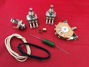 Guitare-Telecaster-mise-a-niveau-Cablage-Kit-047uf-PIO-CAP-pots-Interrupteur-Jack-cloth-wire