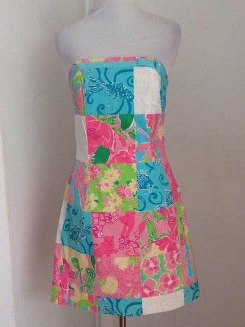 LILLY PULITZER NEW MULTI STRAPLESS PATCHWORK PRINTED DRESS SZ 2
