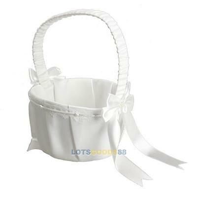 New Ivory Bowknot Satin Rhinestone Crystal Wedding Ceremony Flower Girl Basket