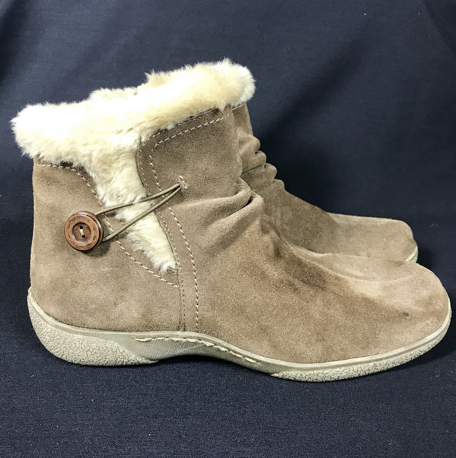 Bare Traps Laurel Taupe Brown Suede Fur Ankle Boot 9.5 medium