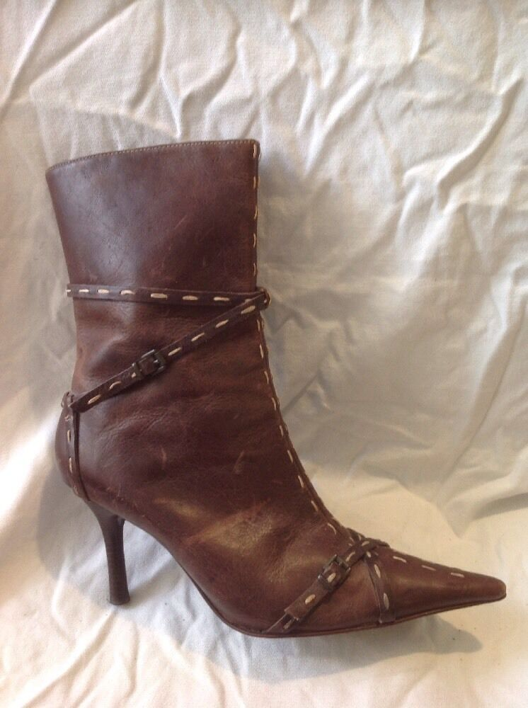 Dune Brown Mid Calf Leather Boots Size 39