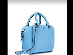 768dc091ca1 Image is loading Tory-Burch-Robinson-Pebbled-Mini-Satchel-Riviera-Blue-