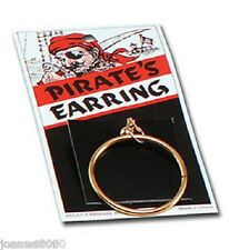 Kids Adult Fancy Dress Gold Loop Clip-On Gypsy Earring Pirate Costume Accessory