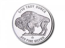 50 - 1/10 oz. 999 Fine Silver Rounds -  Buffalo/Indian Design - BU - Monarch