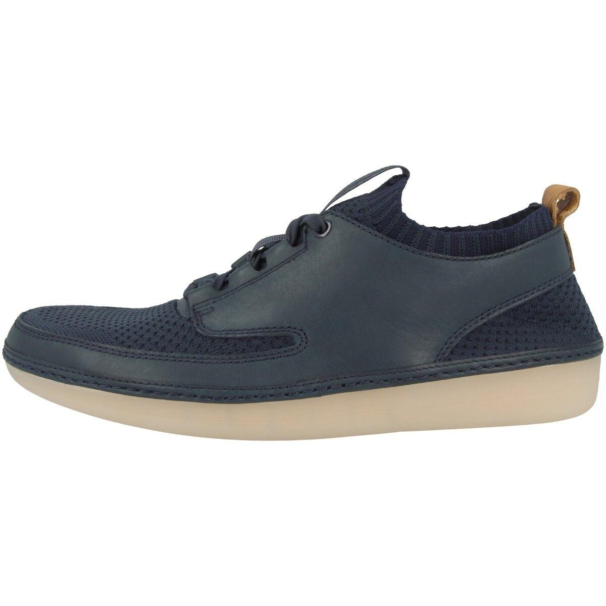 Clarks Nature IV Schuhe Herren Freizeit Leder Schnürschuhe Sneaker navy 26125773