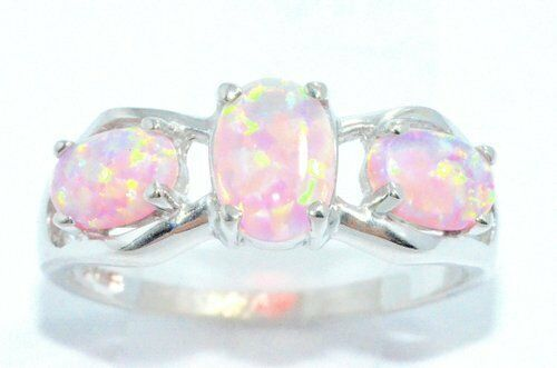 3 Pink Opal Oval Shape Ring .925 Sterling Silver