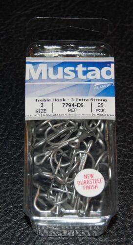 25 Pack Mustad 7794-DS Size 3 Durasteel Saltwater 3X Treble Hooks 7794DS-03