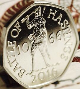 2016-50P-COIN-BATTLE-OF-HASTINGS-RARE-FIFTY-PENCE-Uncirculated-New