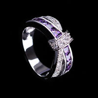 Purple Amethyst & CZ Criss Cross Ring Band White Gold Filled Jewelry Size 6-10 Y