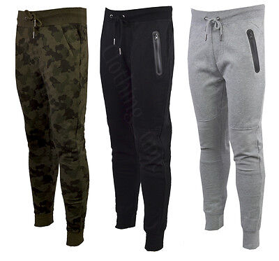 UK Mens Fleece Gym Trousers Elastic Waist Skinny Joggers Slim Fit UK Based S-XXL