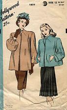 1940's VTG Hollywood Ladies' Coat Pattern 1877 Size 12