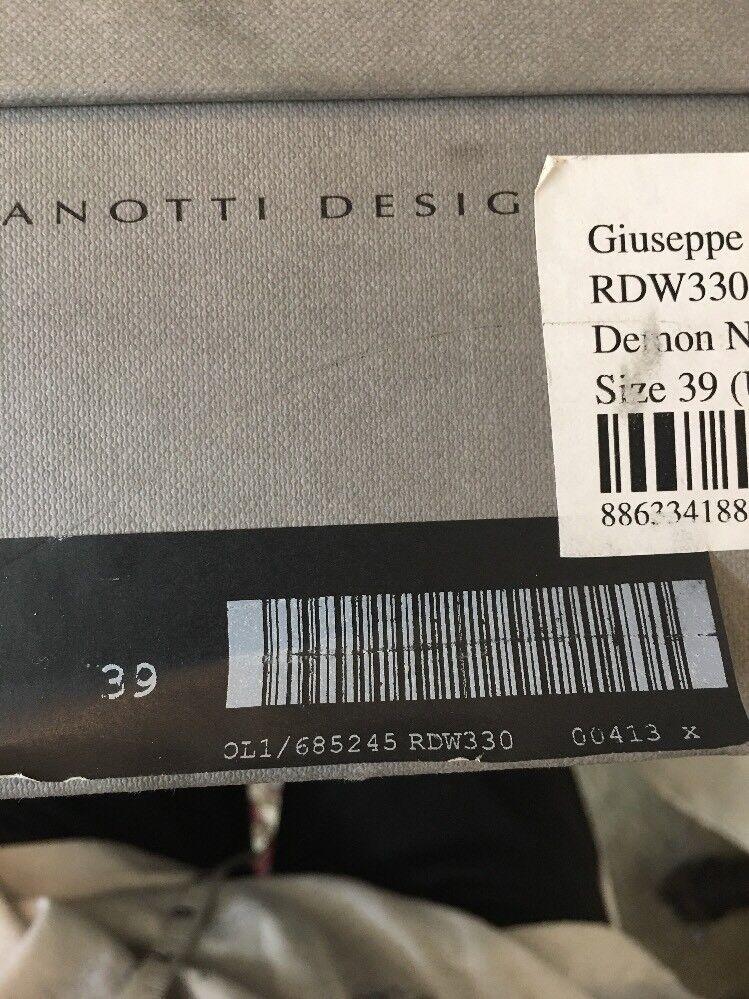 Guisseppi Zanotti Hi Top Demonio Negro Patente zapato zapato zapato Grueso Cremalleras De oro Talla 39 8a8192