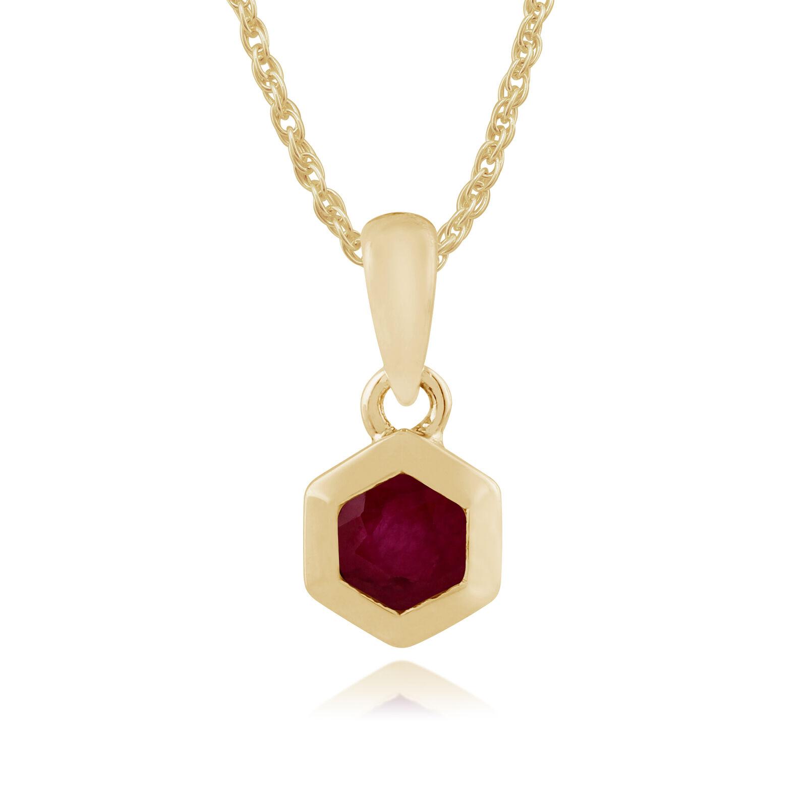 Gemondo 9ct Yellow gold 0.27ct Ruby Hexagon Pendant on Chain