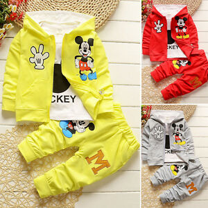 3pcs Kids Boy Girl Outfits Set Mickey Mouse Hoodie Coat T-shirt Top Pants Winter