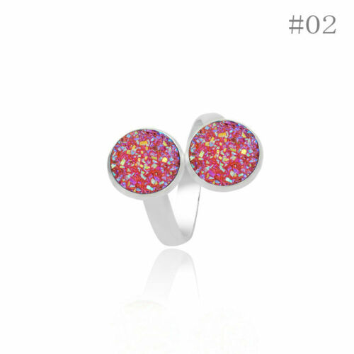 12mm Gold//Silver Plated Double Resin Druzy Crystals Mermaid Cocktail Ring JZ0495