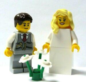 Lego Wedding Minifigure Blue Bride Blonde Hair /& Groom Grey Suit Brown Hair