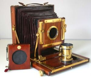 FULL-PLATE-AUXILIARY-MAHOGANY-CAMERA-UNNAMED-F-9-034-LENS-SHUTTER-1-D-D-S-c1900