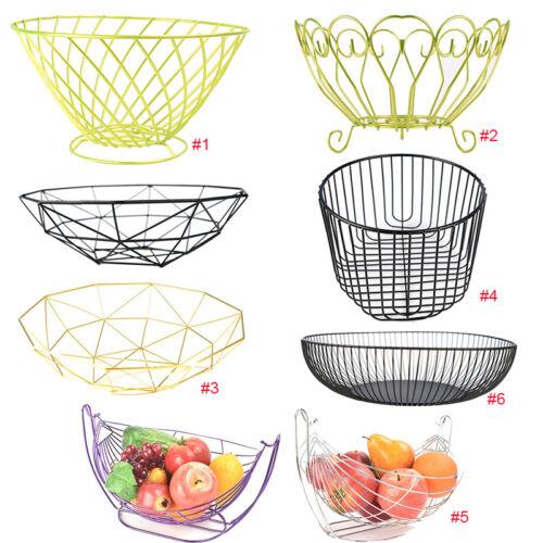 Metal Iron Fruit Basket Vegetable Storage Bowl Rack Display Organizer Container