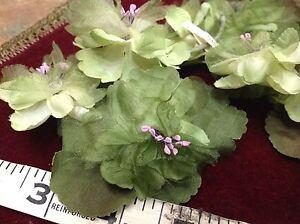 VINTAGE-MILLINERY-1940-039-s-Organza-amp-Silk-Triple-Flowers-Leaf-1-Tri-cluster-JAPAN
