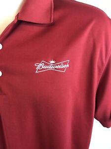 Nike-Golf-Dry-Fit-Mens-Size-XL-Red-Polo-Budweiser-Embroidered-Logo-Short-Sleeve