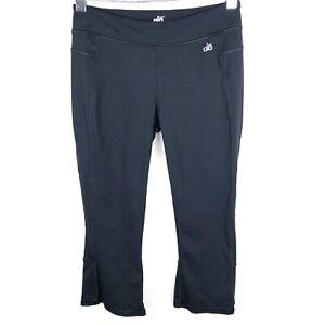 Alo-Yoga-Womens-Capri-cropped-Slit-Back-Mid-Rise-Black-Leggings-Size-Small