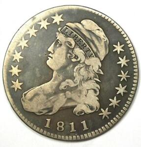 1811 Capped Bust Half Dollar 50C Coin - Fine / VF Details - Rare Date!