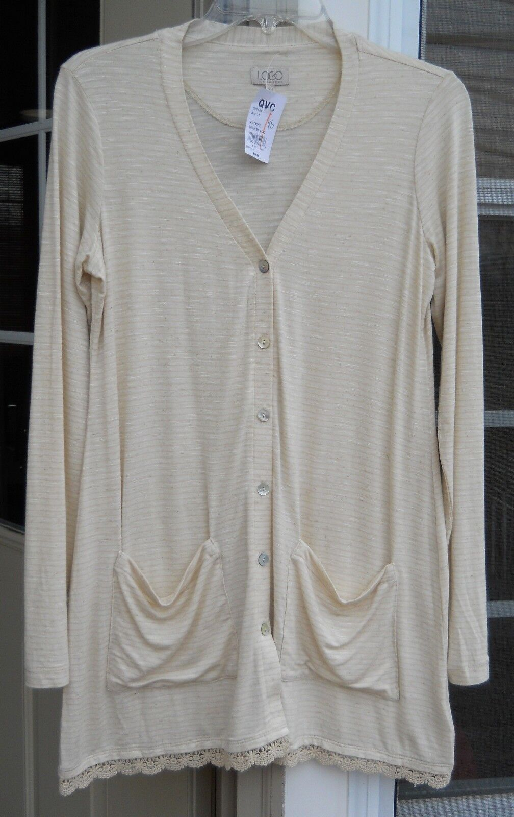 LOGO BY LORI goldSTEIN COCONUT STRIPED CARDIGAN WITH SCALLOPED LACE TRIM  XS
