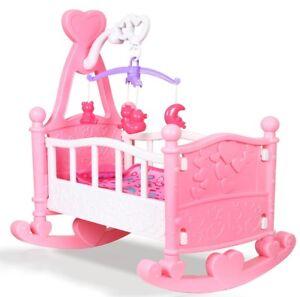 pink puppen wiege krippe kinderbett m dchen spielzeug mit decke kissen ebay. Black Bedroom Furniture Sets. Home Design Ideas